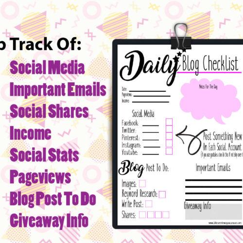 #Free Daily Blog Checklist Printable