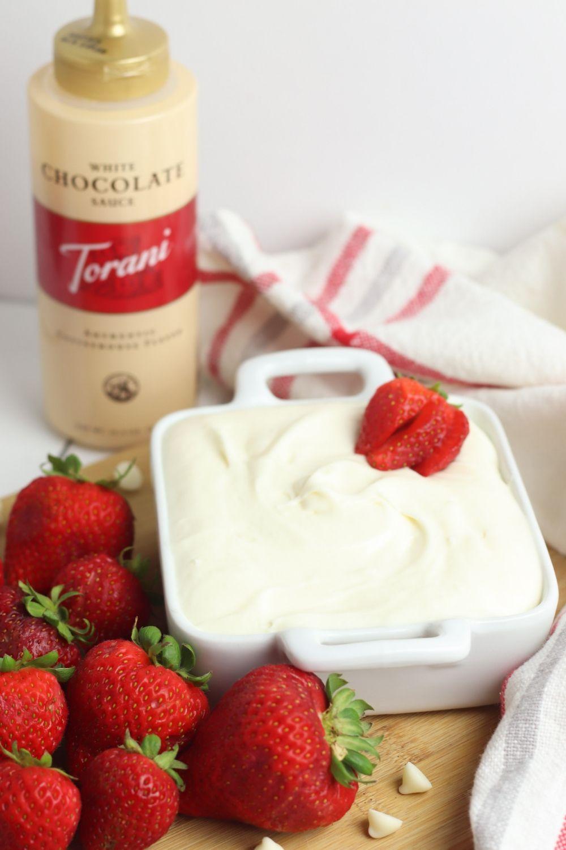 White Chocolate Cheesecake Dip Using Torani White Chocolate Sauce #ToraniWhiteChocolateSauce