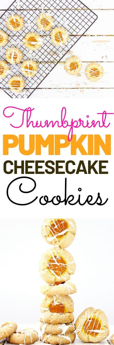 Looking for the perfect Thumbprint cookie? Check out these Pumpkin Cheesecake Thumbnail cookies. These are perfect for the fall and upcoming holiday season. #pumpkin #cookies #thumbprintcookies