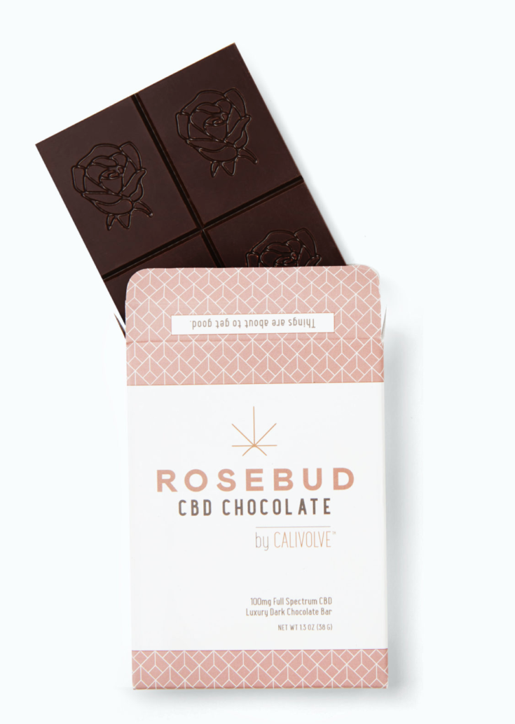 ROSEBUD X CALIVOLVE CBD DARK CHOCOLATE BAR: 100MG FULL SPECTRUM CBD